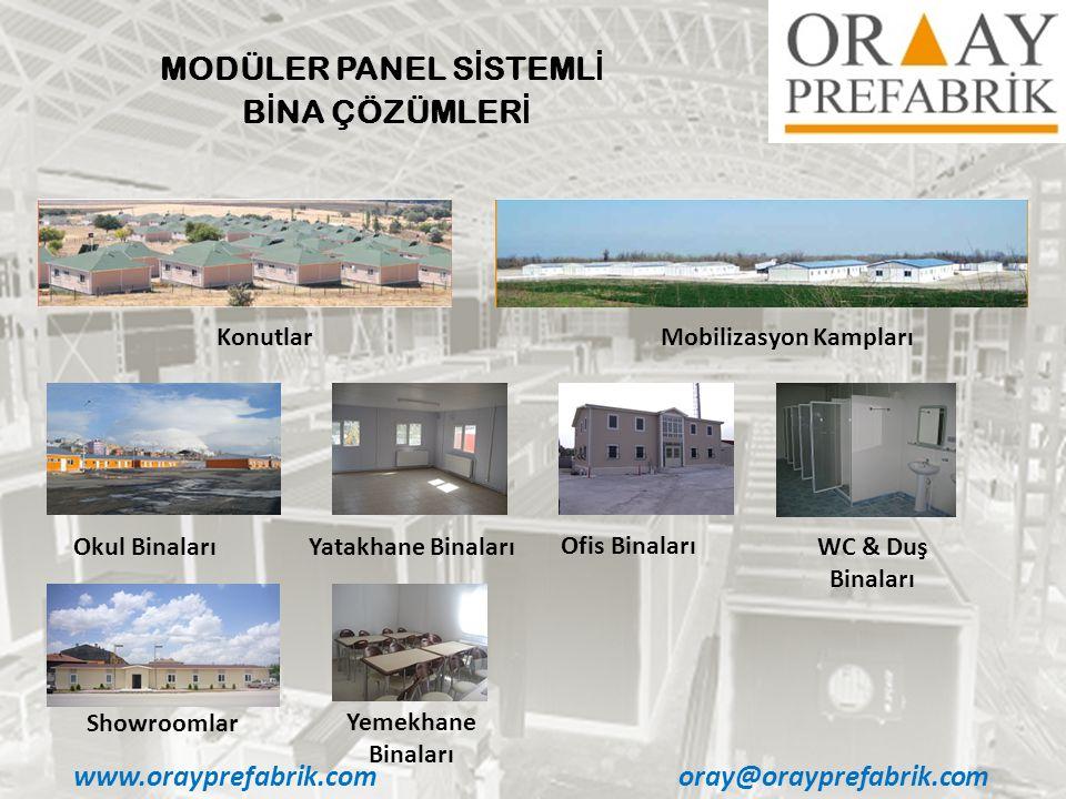 www.orayprefabrik.comoray@orayprefabrik.com MODÜLER PANEL S İ STEML İ B İ NA ÇÖZÜMLER İ Okul BinalarıYatakhane Binaları Ofis Binaları WC & Duş Binaları KonutlarMobilizasyon Kampları Showroomlar Yemekhane Binaları
