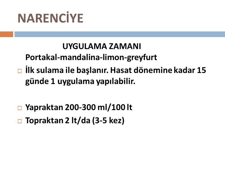 NARENCİYE UYGULAMA ZAMANI Portakal-mandalina-limon-greyfurt  İlk sulama ile başlanır. Hasat dönemine kadar 15 günde 1 uygulama yapılabilir.  Yaprakt