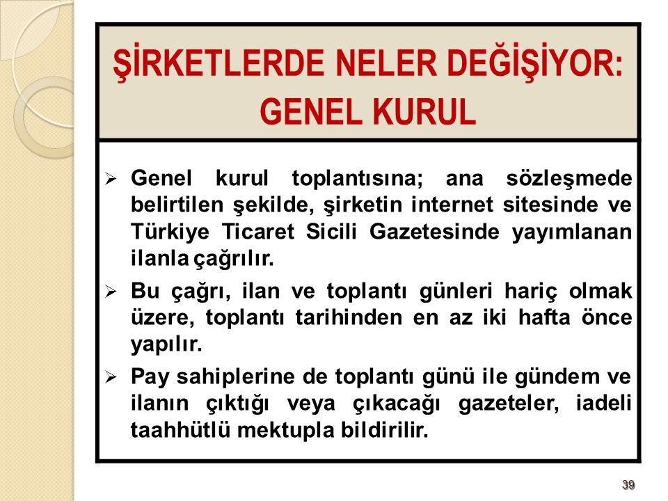 3939 ŞİRKETLERDE NELER DEĞİŞİYOR: GENEL KURUL  Genel kurul toplantısına; ana sözleşmede belirtilen şekilde, şirketin internet sitesinde ve Türkiye Ti