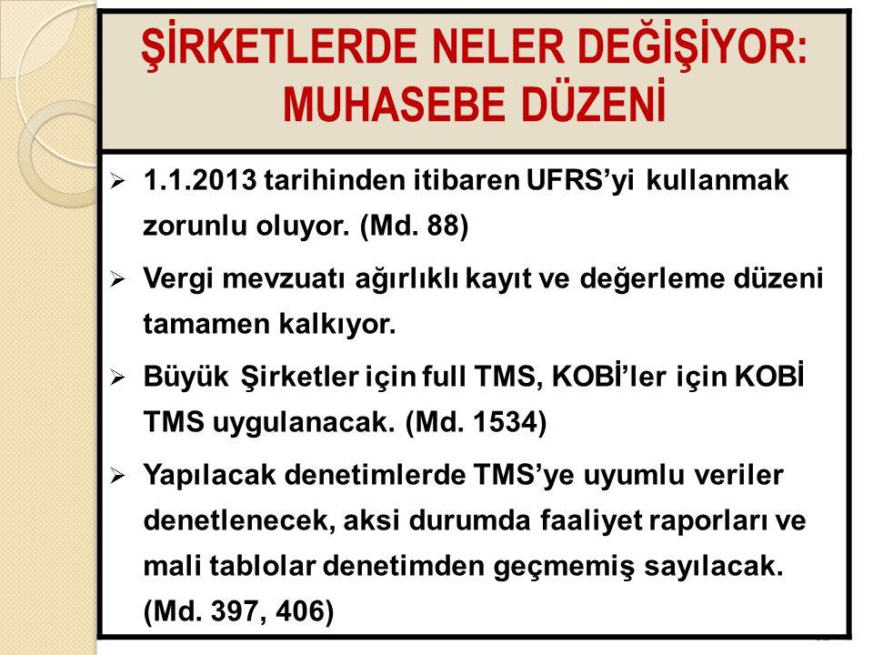 6262 ŞİRKETLERDE NELER DEĞİŞİYOR: MUHASEBE DÜZENİ  1.1.2013 tarihinden itibaren UFRS'yi kullanmak zorunlu oluyor. (Md. 88)  Vergi mevzuatı ağırlıklı