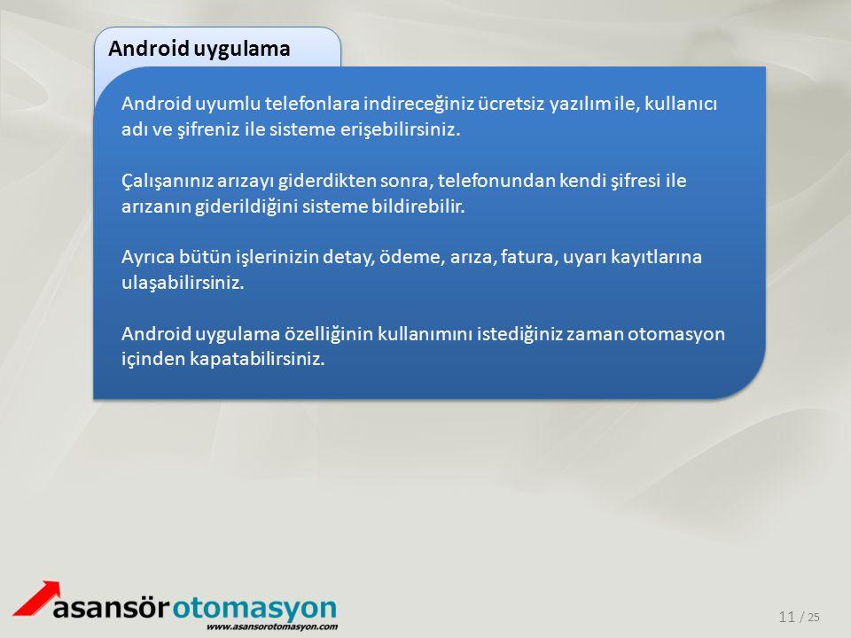 / 25 Android uyumlu telefonlara indireceğiniz ücretsiz yazılım ile, kullanıcı adı ve şifreniz ile sisteme erişebilirsiniz. Çalışanınız arızayı giderdi
