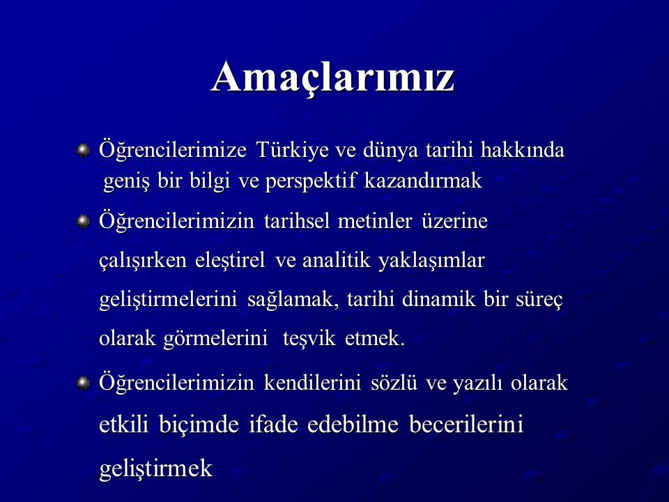 Amaçlarımız Öğrencilerimize Türkiye ve dünya tarihi hakkında geniş bir bilgi ve perspektif kazandırmak geniş bir bilgi ve perspektif kazandırmak Öğren