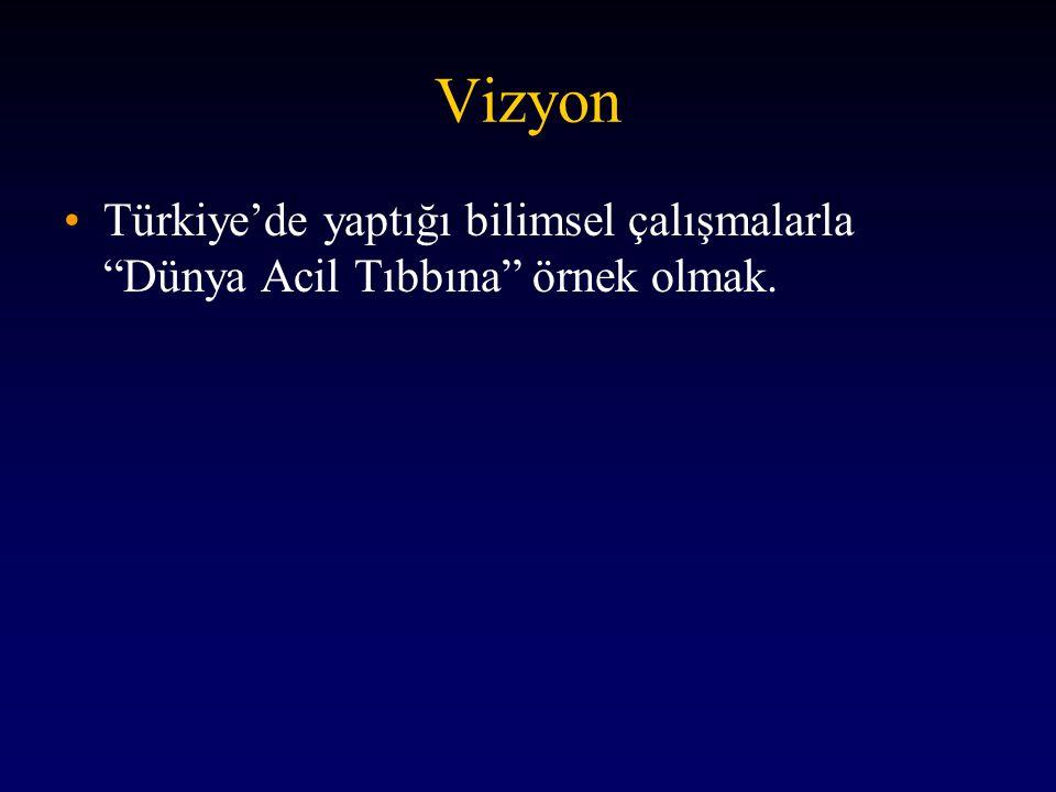"""Vizyon •Türkiye'de yaptığı bilimsel çalışmalarla """"Dünya Acil Tıbbına"""" örnek olmak."""