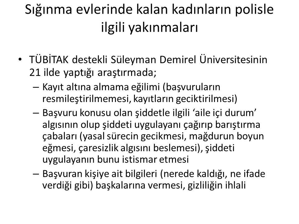 Sığınma evlerinde kalan kadınların polisle ilgili yakınmaları • TÜBİTAK destekli Süleyman Demirel Üniversitesinin 21 ilde yaptığı araştırmada; – Kayıt