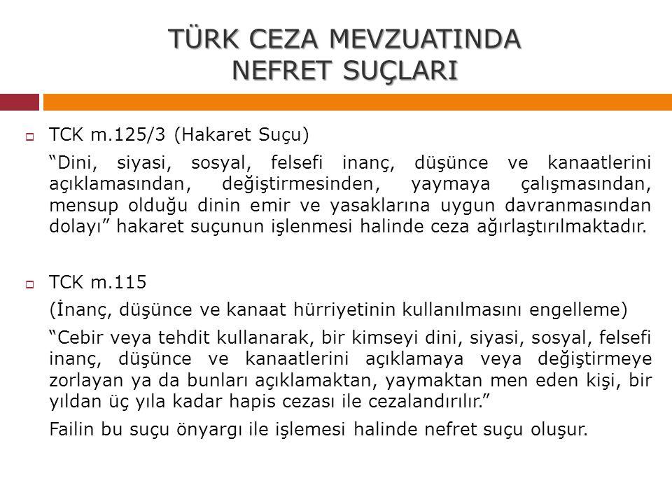 """TÜRK CEZA MEVZUATINDA NEFRET SUÇLARI  TCK m.125/3 (Hakaret Suçu) """"Dini, siyasi, sosyal, felsefi inanç, düşünce ve kanaatlerini açıklamasından, değişt"""