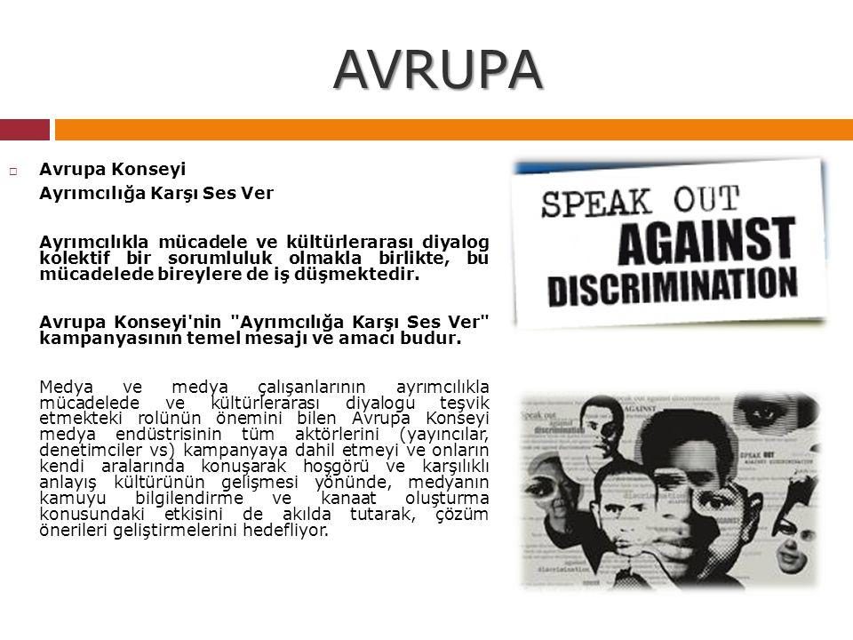 AVRUPA  Avrupa Konseyi Ayrımcılığa Karşı Ses Ver Ayrımcılıkla mücadele ve kültürlerarası diyalog kolektif bir sorumluluk olmakla birlikte, bu mücadel