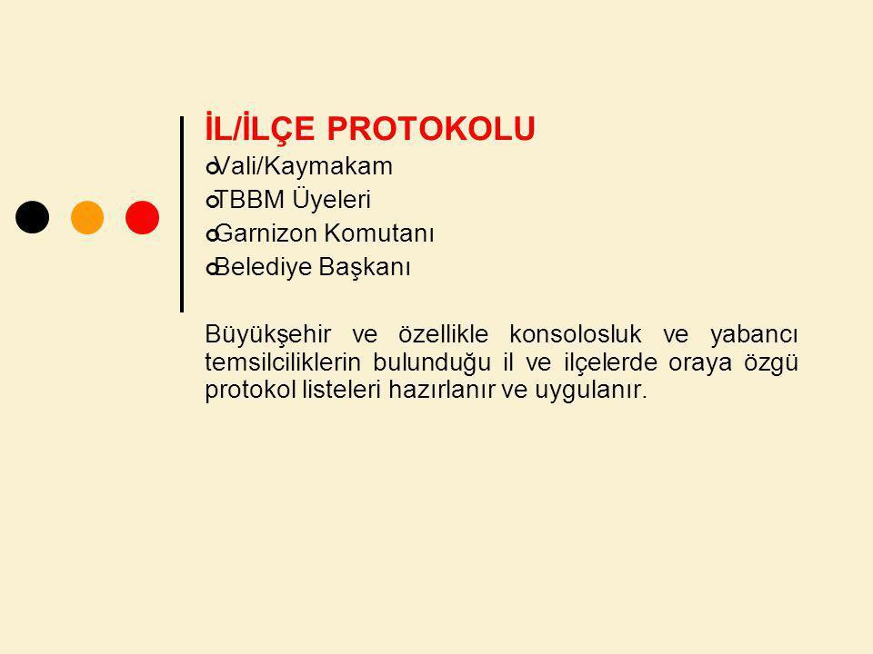 İL/İLÇE PROTOKOLU Vali/Kaymakam TBBM Üyeleri Garnizon Komutanı Belediye Başkanı Büyükşehir ve özellikle konsolosluk ve yabancı temsilciliklerin bulunduğu il ve ilçelerde oraya özgü protokol listeleri hazırlanır ve uygulanır.