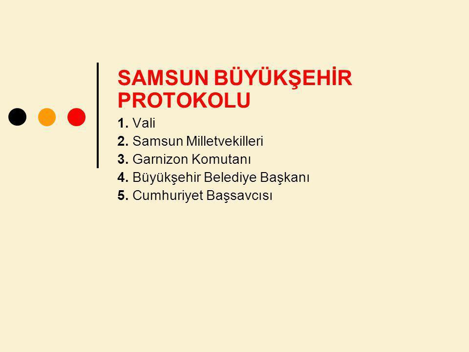 SAMSUN BÜYÜKŞEHİR PROTOKOLU 1.Vali 2. Samsun Milletvekilleri 3.