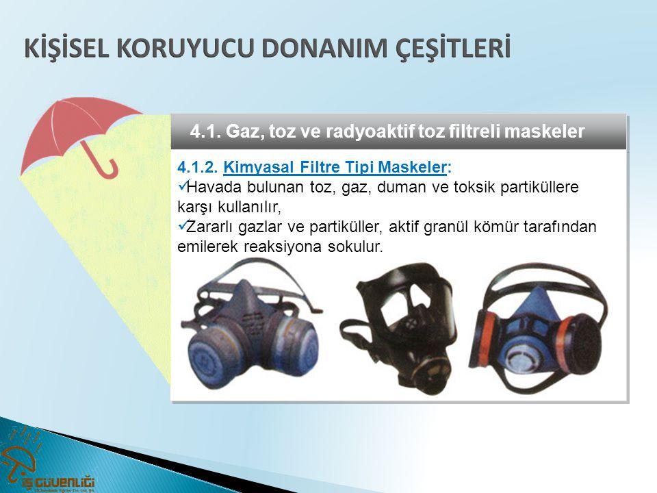 4.1. Gaz, toz ve radyoaktif toz filtreli maskeler 4.1.2. Kimyasal Filtre Tipi Maskeler:  Havada bulunan toz, gaz, duman ve toksik partiküllere karşı