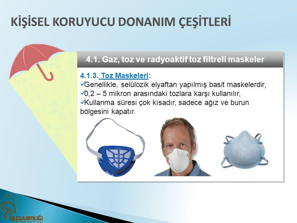 4.1. Gaz, toz ve radyoaktif toz filtreli maskeler 4.1.3. Toz Maskeleri:  Genellikle, selülozik elyaftan yapılmış basit maskelerdir,  0,2 – 5 mikron