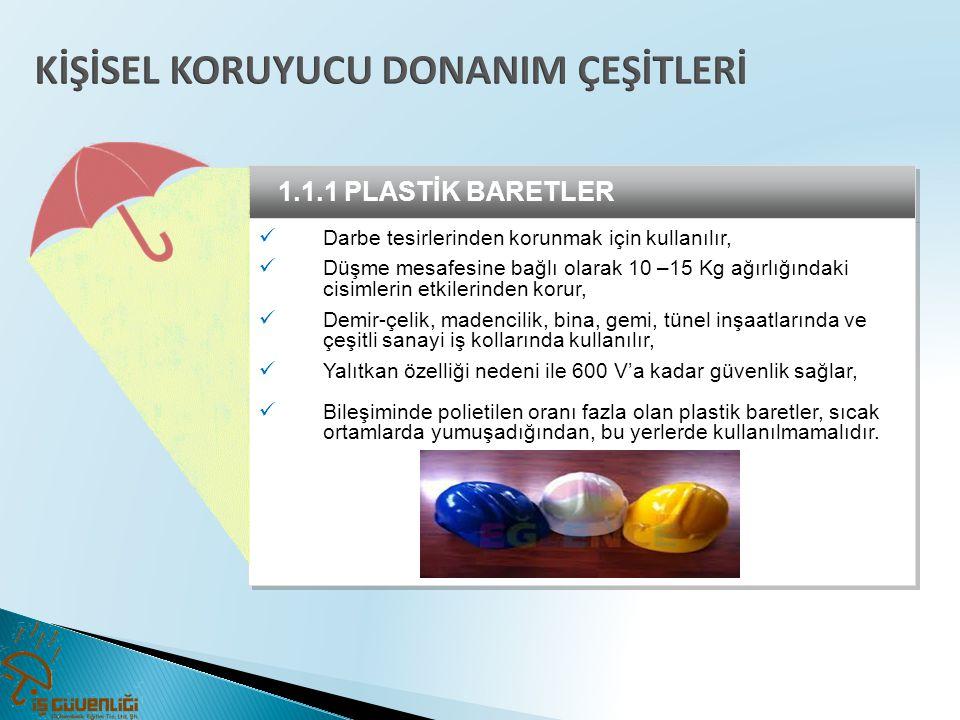 1.1.1 PLASTİK BARETLER  Darbe tesirlerinden korunmak için kullanılır,  Düşme mesafesine bağlı olarak 10 –15 Kg ağırlığındaki cisimlerin etkilerinden