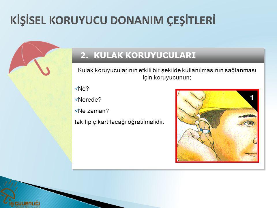 2. KULAK KORUYUCULARI Kulak koruyucularının etkili bir şekilde kullanılmasının sağlanması için koruyucunun;  Ne?  Nerede?  Ne zaman? takılıp çıkart
