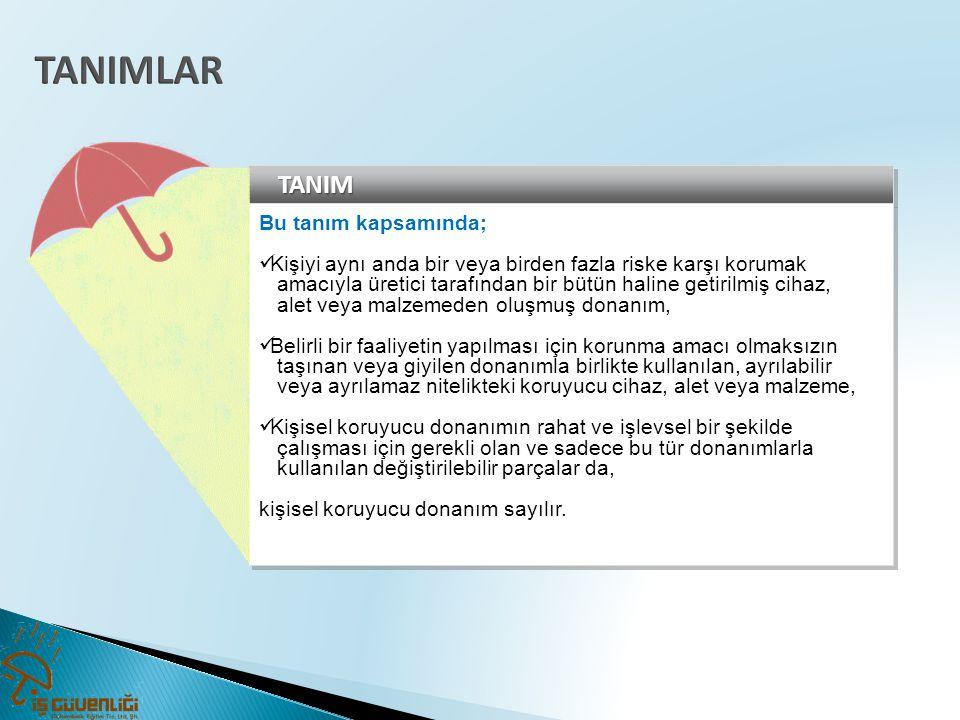 KİŞİSEL KORUYUCU DONANIMLAR TEKNİK KOMİTESİNİN OLUŞUMU VE GÖREVLERİNE DAİR TEBLİĞ e) Onaylanmış kuruluşları temsilen bu kuruluşlar arasından Bakanlıkça seçilecek bir üye, f) Kişisel koruyucu donanım ithal eden ve üreten firmalar arasından Bakanlıkça seçilecek en az iki üye, g) Türkiye İşveren Sendikaları Konfederasyonunu temsilen bir üye, ğ) Türk Standardları Enstitüsünü temsilen bir üye, h) Türkiye Esnaf ve Sanatkârları Konfederasyonunu temsilen bir üye, ı) Türkiye Odalar ve Borsalar Birliğini temsilen bir üye.
