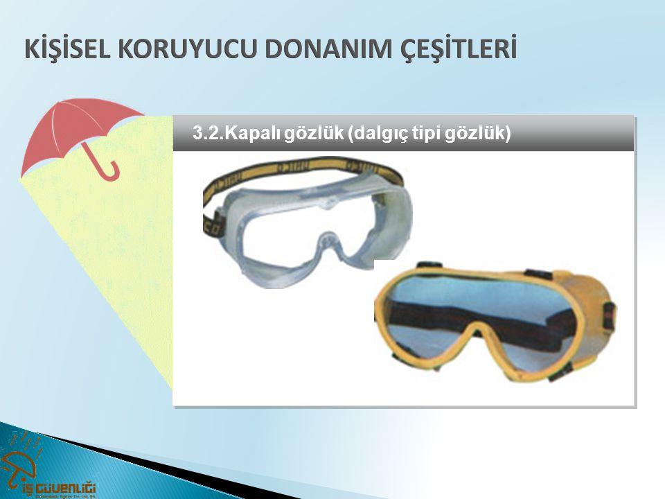3.2.Kapalı gözlük (dalgıç tipi gözlük)