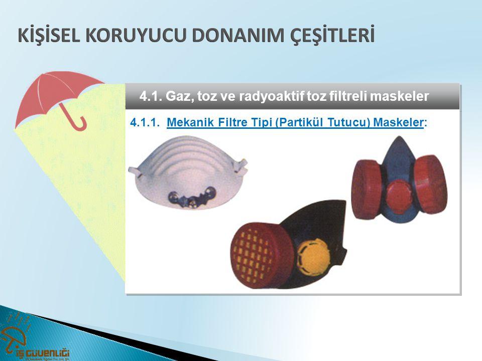4.1. Gaz, toz ve radyoaktif toz filtreli maskeler 4.1.1. Mekanik Filtre Tipi (Partikül Tutucu) Maskeler: