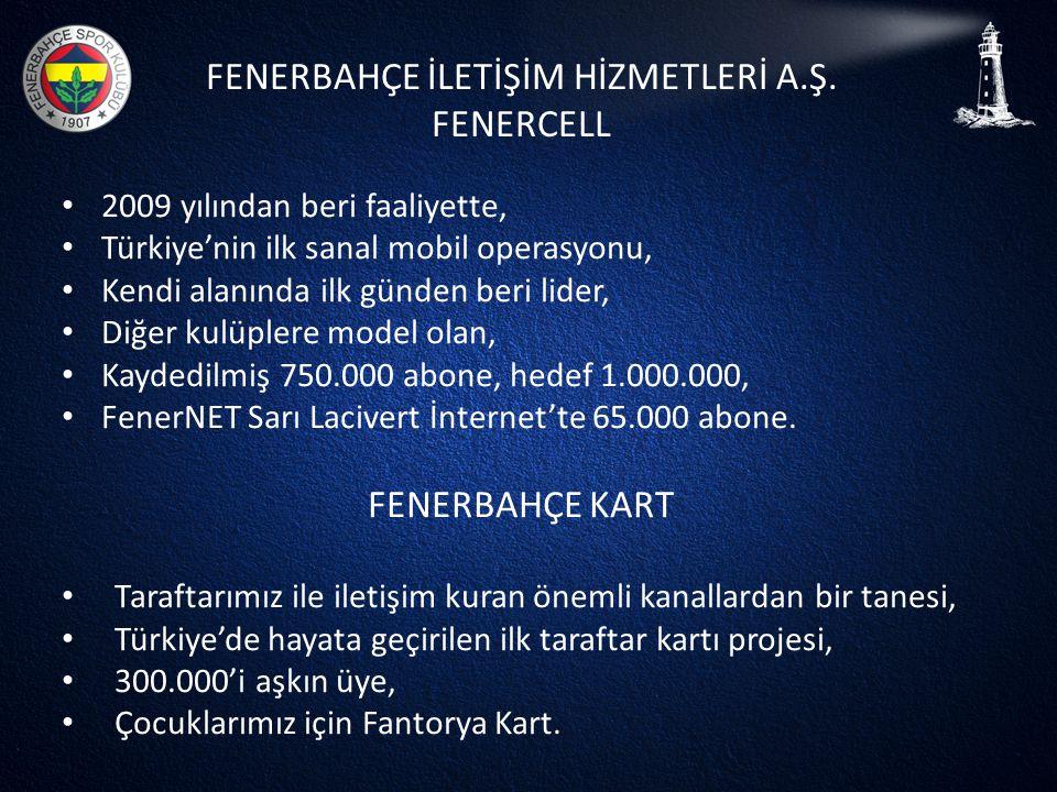 FENERBAHÇE İLETİŞİM HİZMETLERİ A.Ş. FENERCELL • 2009 yılından beri faaliyette, • Türkiye'nin ilk sanal mobil operasyonu, • Kendi alanında ilk günden b