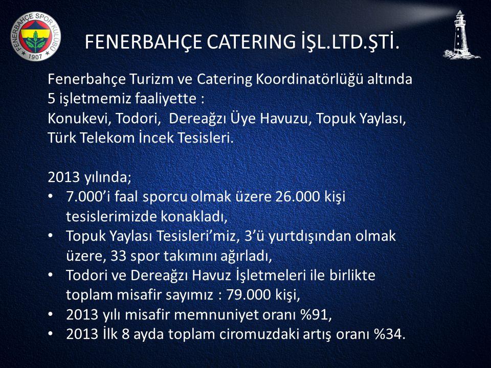 FENERBAHÇE CATERING İŞL.LTD.ŞTİ. Fenerbahçe Turizm ve Catering Koordinatörlüğü altında 5 işletmemiz faaliyette : Konukevi, Todori, Dereağzı Üye Havuzu