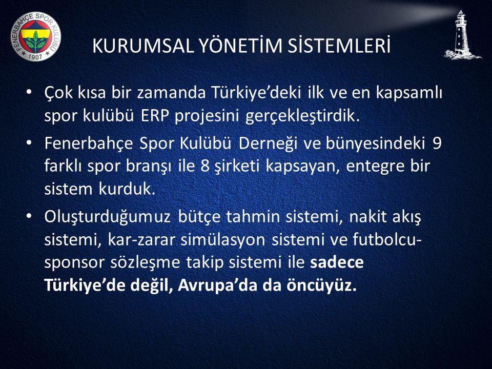 KURUMSAL YÖNETİM SİSTEMLERİ • Çok kısa bir zamanda Türkiye'deki ilk ve en kapsamlı spor kulübü ERP projesini gerçekleştirdik. • Fenerbahçe Spor Kulübü