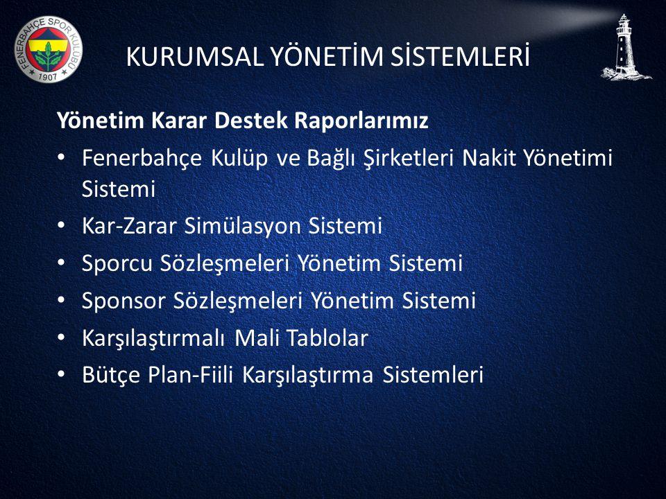 KURUMSAL YÖNETİM SİSTEMLERİ Yönetim Karar Destek Raporlarımız • Fenerbahçe Kulüp ve Bağlı Şirketleri Nakit Yönetimi Sistemi • Kar-Zarar Simülasyon Sis