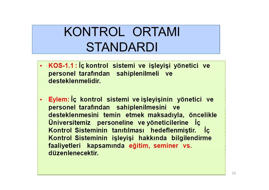 KONTROL ORTAMI STANDARDI •KOS-1.2 : İdarenin yöneticileri iç kontrol sisteminin uygulanmasında personele örnek olmalıdır.