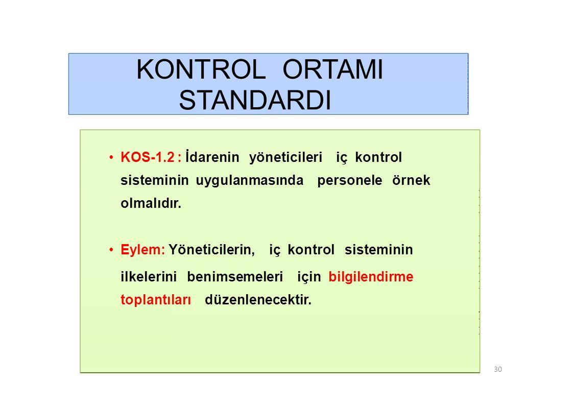 KONTROL ORTAMI STANDARDI • KOS-1.3 : Etik kurallar bilinmeli ve tüm faaliyetlerde bu kurallara uyulmalıdır.