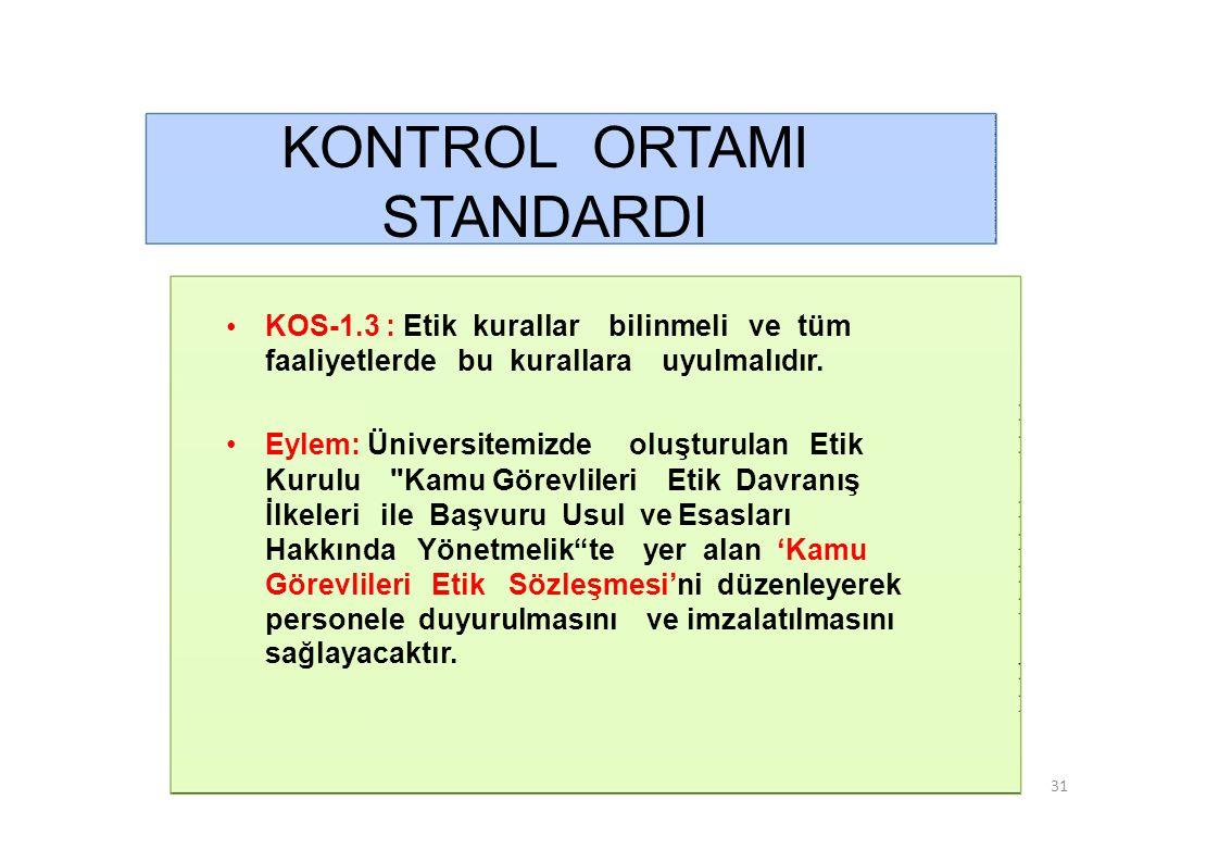 KONTROL ORTAMI STANDARDI • KOS-1.4 : Faaliyetlerde dürüstlük, saydamlık ve hesap verebilirlik sağlanmalıdır.