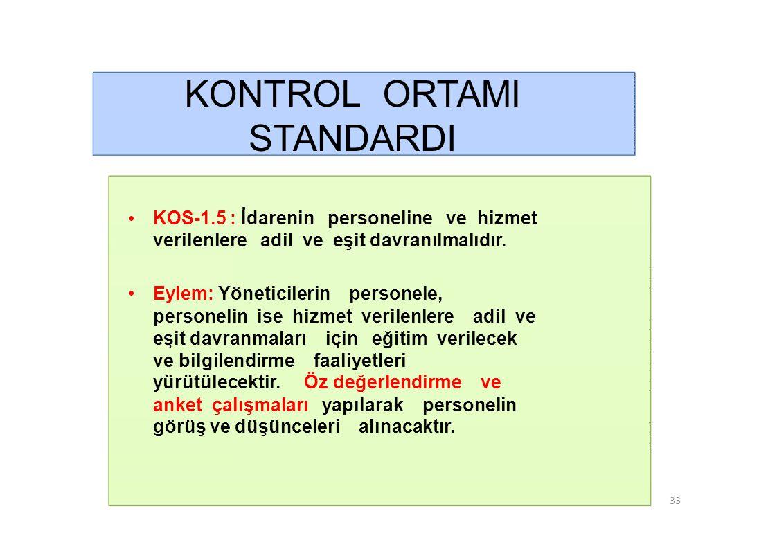 KONTROL ORTAMI STANDARDI • KOS-1.6 : İdarenin faaliyetlerine ilişkin tüm bilgi ve belgeler doğru, tam ve güvenilir olmalıdır.