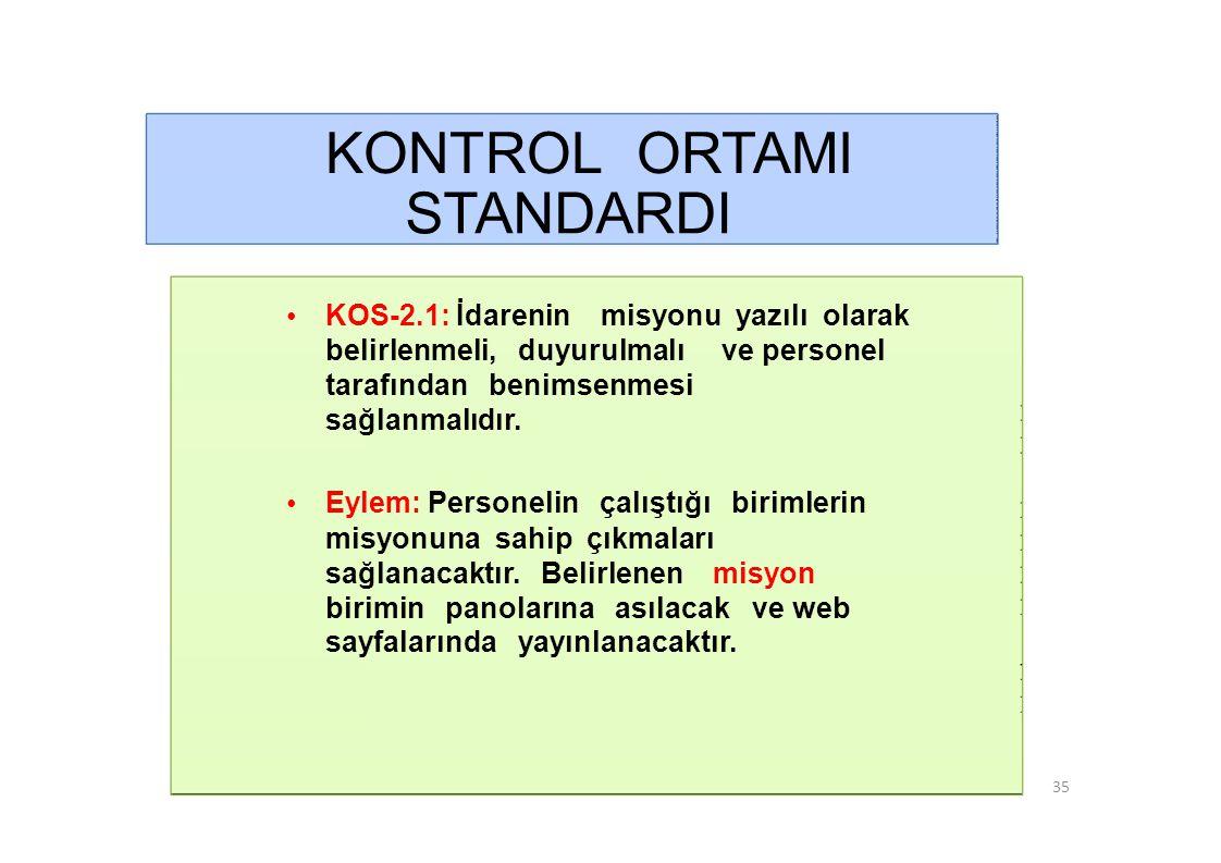 KONTROL ORTAMI STANDARDI • KOS-2.2: Misyonun gerçekleştirilmesini sağlamak üzere idare birimleri ve alt birimlerince yürütülecek görevler yazılı olarak tanımlanmalı ve duyurulmalıdır.