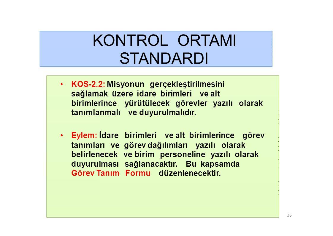 KONTROL ORTAMI STANDARDI • KOS-2.3: İdare birimlerinde personelin görevlerini ve bu görevlere ilişkin yetki ve sorumluluklarını kapsayan görev dağılım çizelgesi oluşturulmalı ve personele bildirilmelidir.
