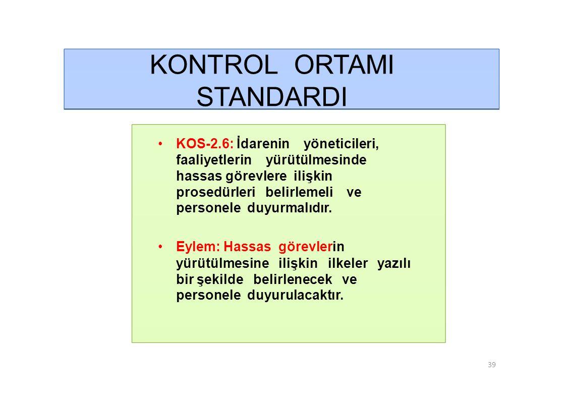 KONTROL ORTAMI STANDARDI • KOS-2.7: Her düzeydeki yöneticiler verilen görevlerin sonucunu izlemeye yönelik mekanizmalar oluşturmalıdır.