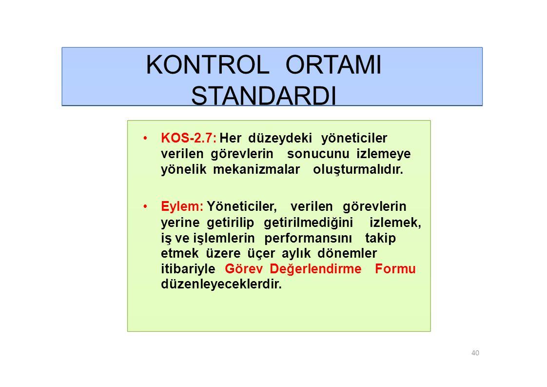 KONTROL ORTAMI STANDARDI • KOS-3.2: İdarenin yönetici ve personeli görevlerini etkin ve etkili bir şekilde yürütebilecek bilgi, deneyim ve yeteneğe sahip olmalıdır.