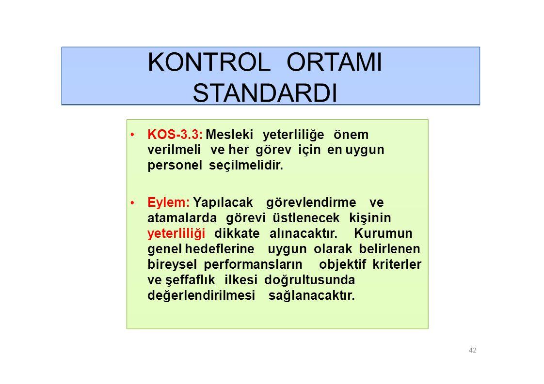 KONTROL ORTAMI STANDARDI • KOS-3.3: Mesleki yeterliliğe önem verilmeli ve her görev için en uygun personel seçilmelidir.