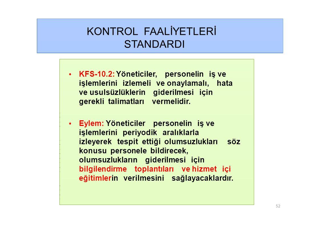 KONTROL FAALİYETLERİ STANDARDI • KFS-10.2: Yöneticiler, personelin iş ve işlemlerini izlemeli ve onaylamalı, hata ve usulsüzlüklerin giderilmesi için gerekli talimatları vermelidir.