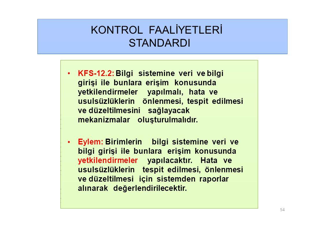 KONTROL FAALİYETLERİ STANDARDI • KFS-12.2: Bilgi sistemine veri ve bilgi girişi ile bunlara erişim konusunda yetkilendirmeler yapılmalı, hata ve usulsüzlüklerin önlenmesi, tespit edilmesi ve düzeltilmesini sağlayacak mekanizmalar oluşturulmalıdır.