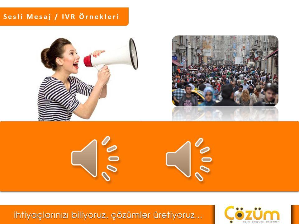 Sesli Mesaj / IVR Sesli Mesaj Servisi, dilediğiniz bir ses kaydının, bir ildeki, ilçedeki ya da belli bir mahalledeki telefon numaralarına, hatta dilerseniz sadece sizin belirleyeceğiniz numaralara, aynı anda arama yapabilen yüzlerce hat üzerinden son derece hızlı bir şekilde ulaştırılmasını sağlayan bir mesaj servisidir.