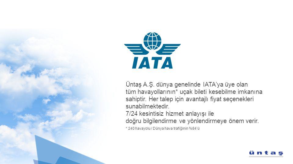 Üntaş A.Ş. dünya genelinde IATA'ya üye olan tüm havayollarının* uçak bileti kesebilme imkanına sahiptir. Her talep için avantajlı fiyat seçenekleri su