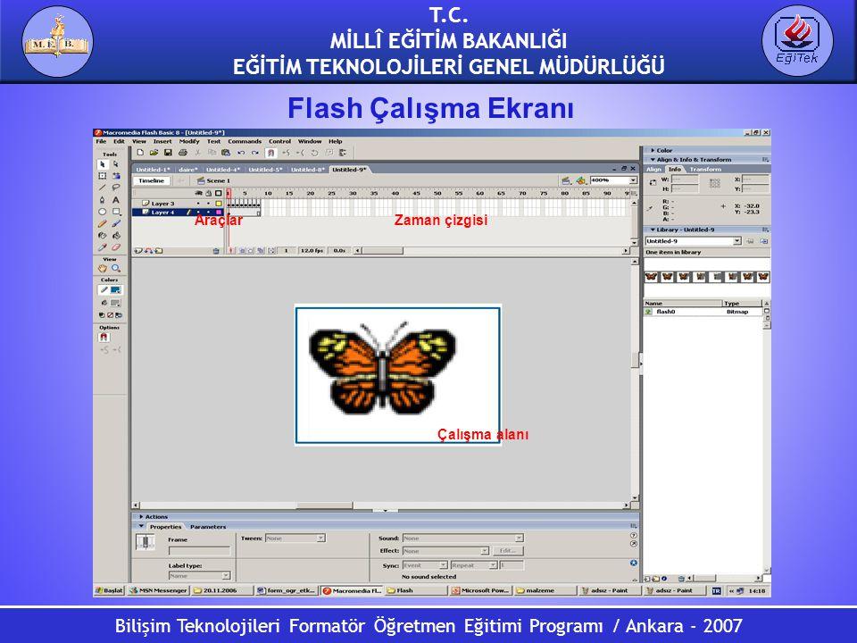 Bilişim Teknolojileri Formatör Öğretmen Eğitimi Programı / Ankara - 2007 T.C. MİLLÎ EĞİTİM BAKANLIĞI EĞİTİM TEKNOLOJİLERİ GENEL MÜDÜRLÜĞÜ Flash Çalışm