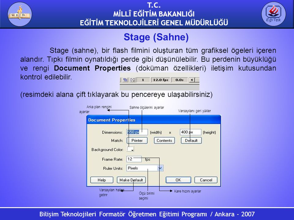 Bilişim Teknolojileri Formatör Öğretmen Eğitimi Programı / Ankara - 2007 T.C. MİLLÎ EĞİTİM BAKANLIĞI EĞİTİM TEKNOLOJİLERİ GENEL MÜDÜRLÜĞÜ Stage (Sahne