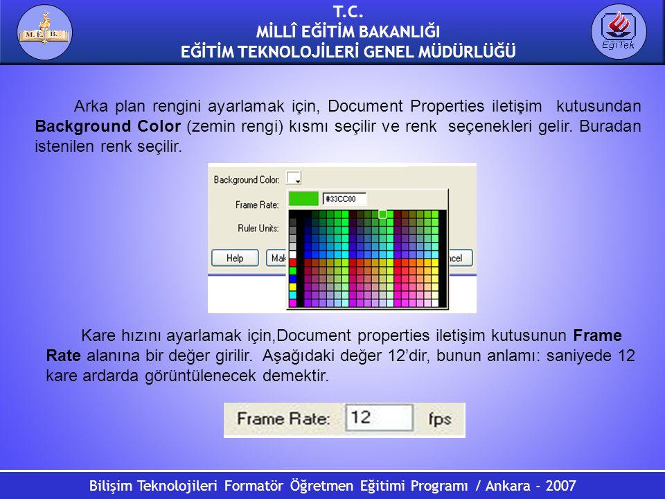 Bilişim Teknolojileri Formatör Öğretmen Eğitimi Programı / Ankara - 2007 T.C. MİLLÎ EĞİTİM BAKANLIĞI EĞİTİM TEKNOLOJİLERİ GENEL MÜDÜRLÜĞÜ Arka plan re