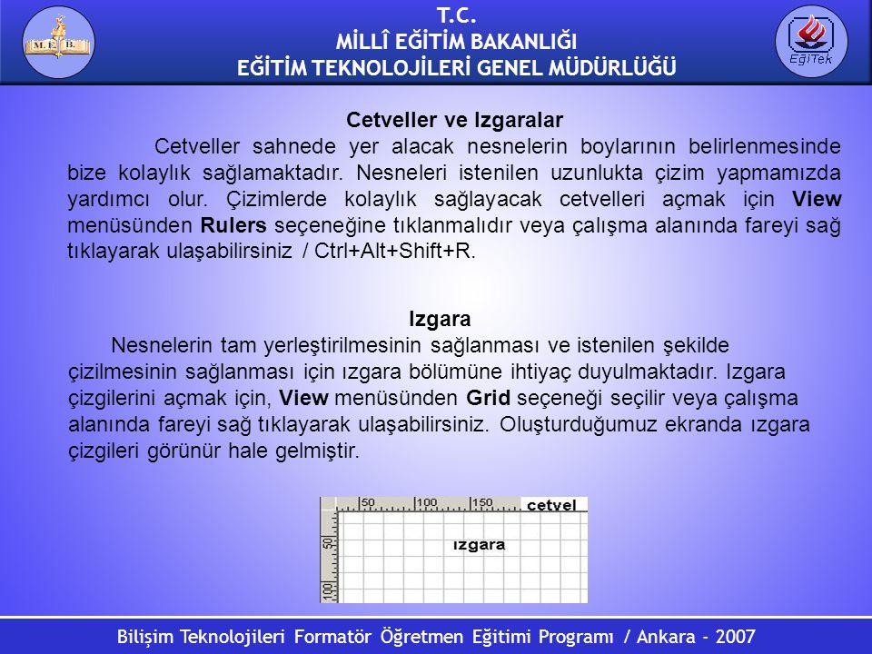 Bilişim Teknolojileri Formatör Öğretmen Eğitimi Programı / Ankara - 2007 T.C. MİLLÎ EĞİTİM BAKANLIĞI EĞİTİM TEKNOLOJİLERİ GENEL MÜDÜRLÜĞÜ Cetveller ve