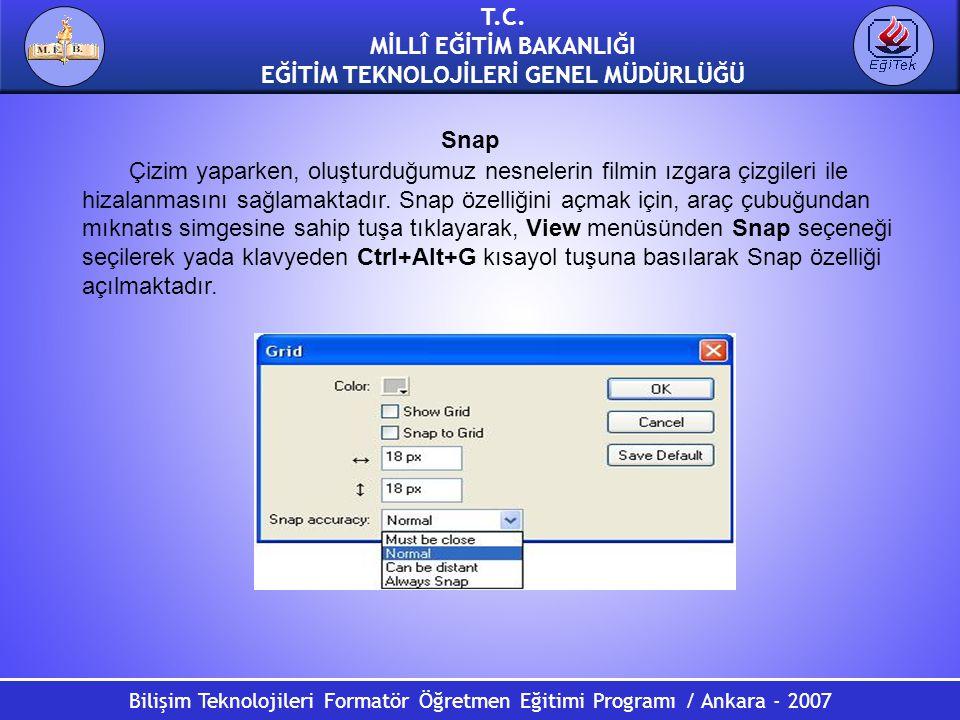 Bilişim Teknolojileri Formatör Öğretmen Eğitimi Programı / Ankara - 2007 T.C. MİLLÎ EĞİTİM BAKANLIĞI EĞİTİM TEKNOLOJİLERİ GENEL MÜDÜRLÜĞÜ Snap Çizim y
