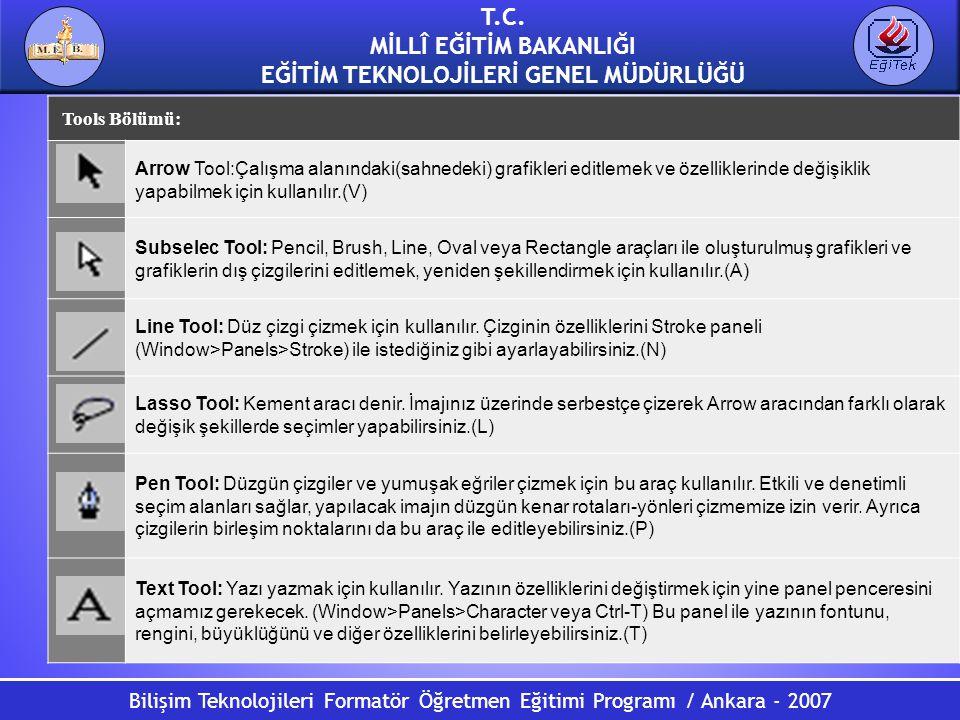 Bilişim Teknolojileri Formatör Öğretmen Eğitimi Programı / Ankara - 2007 T.C. MİLLÎ EĞİTİM BAKANLIĞI EĞİTİM TEKNOLOJİLERİ GENEL MÜDÜRLÜĞÜ Tools Bölümü