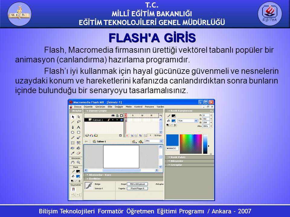 Bilişim Teknolojileri Formatör Öğretmen Eğitimi Programı / Ankara - 2007 T.C. MİLLÎ EĞİTİM BAKANLIĞI EĞİTİM TEKNOLOJİLERİ GENEL MÜDÜRLÜĞÜ FLASH'A GİRİ