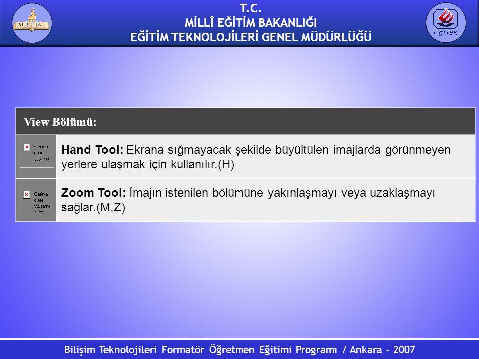 Bilişim Teknolojileri Formatör Öğretmen Eğitimi Programı / Ankara - 2007 T.C. MİLLÎ EĞİTİM BAKANLIĞI EĞİTİM TEKNOLOJİLERİ GENEL MÜDÜRLÜĞÜ View Bölümü: