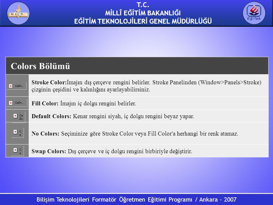 Bilişim Teknolojileri Formatör Öğretmen Eğitimi Programı / Ankara - 2007 T.C. MİLLÎ EĞİTİM BAKANLIĞI EĞİTİM TEKNOLOJİLERİ GENEL MÜDÜRLÜĞÜ Colors Bölüm