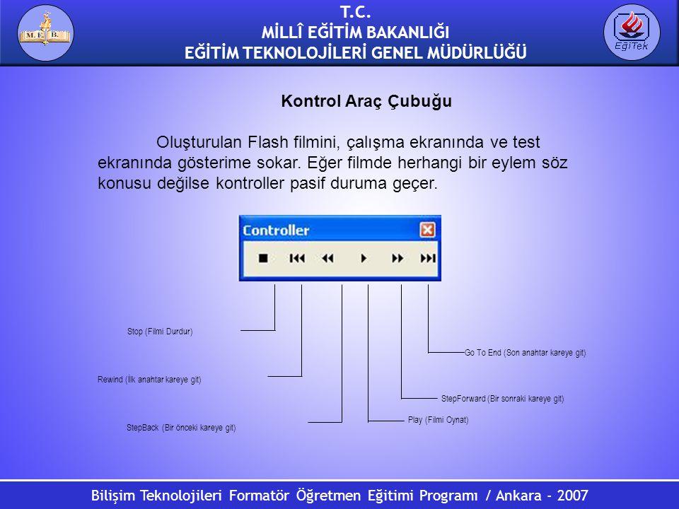 Bilişim Teknolojileri Formatör Öğretmen Eğitimi Programı / Ankara - 2007 T.C. MİLLÎ EĞİTİM BAKANLIĞI EĞİTİM TEKNOLOJİLERİ GENEL MÜDÜRLÜĞÜ Kontrol Araç