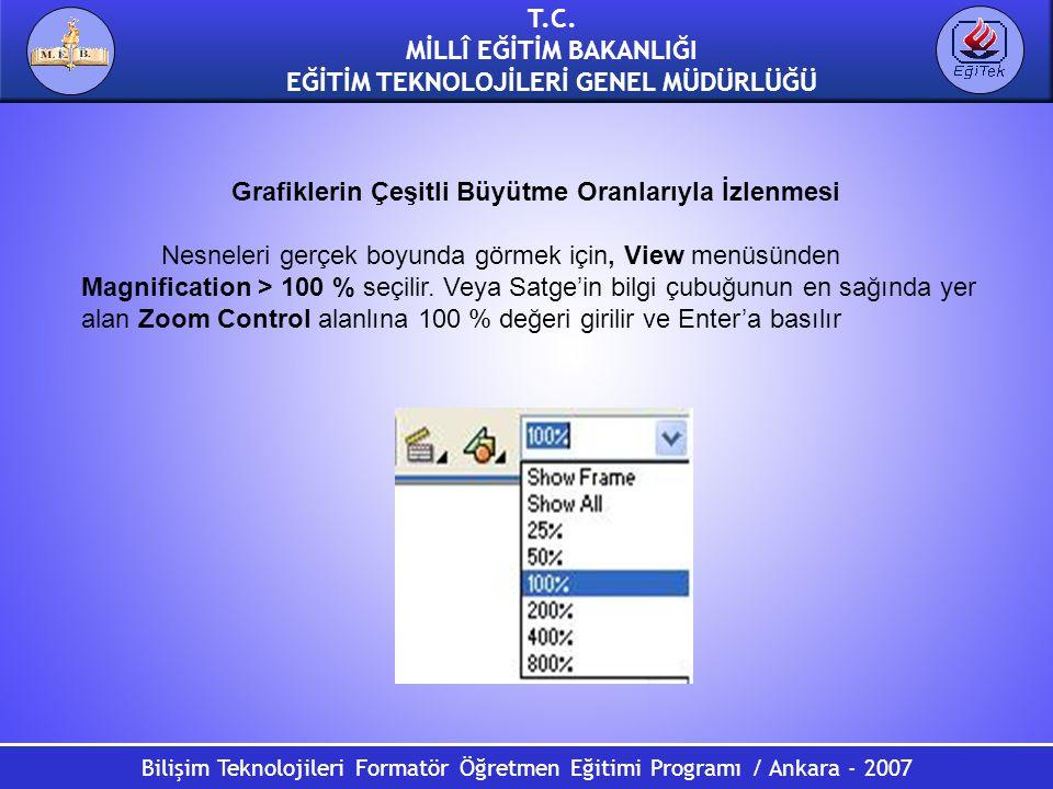 Bilişim Teknolojileri Formatör Öğretmen Eğitimi Programı / Ankara - 2007 T.C. MİLLÎ EĞİTİM BAKANLIĞI EĞİTİM TEKNOLOJİLERİ GENEL MÜDÜRLÜĞÜ Grafiklerin