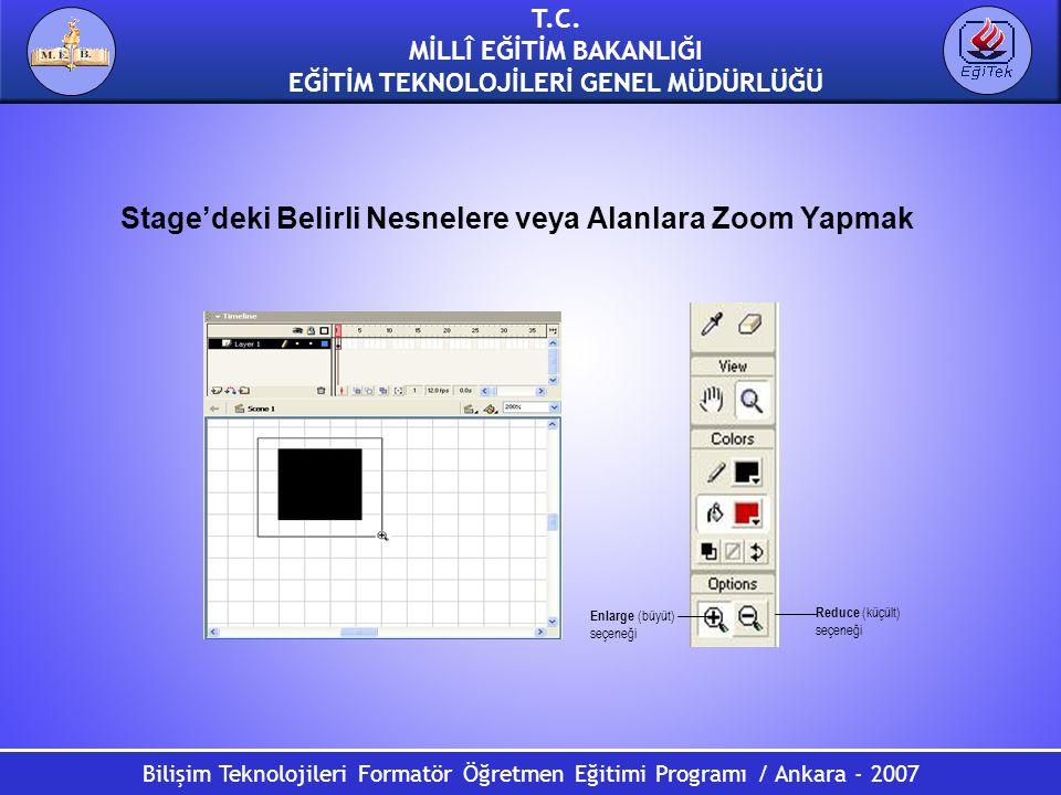 Bilişim Teknolojileri Formatör Öğretmen Eğitimi Programı / Ankara - 2007 T.C. MİLLÎ EĞİTİM BAKANLIĞI EĞİTİM TEKNOLOJİLERİ GENEL MÜDÜRLÜĞÜ Stage'deki B