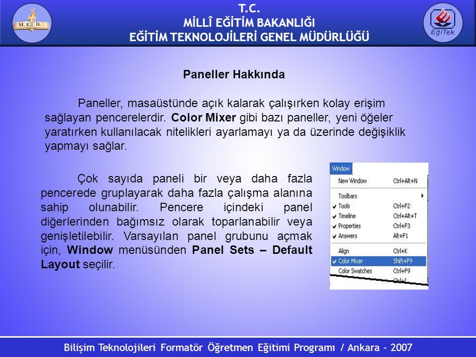 Bilişim Teknolojileri Formatör Öğretmen Eğitimi Programı / Ankara - 2007 T.C. MİLLÎ EĞİTİM BAKANLIĞI EĞİTİM TEKNOLOJİLERİ GENEL MÜDÜRLÜĞÜ Paneller Hak