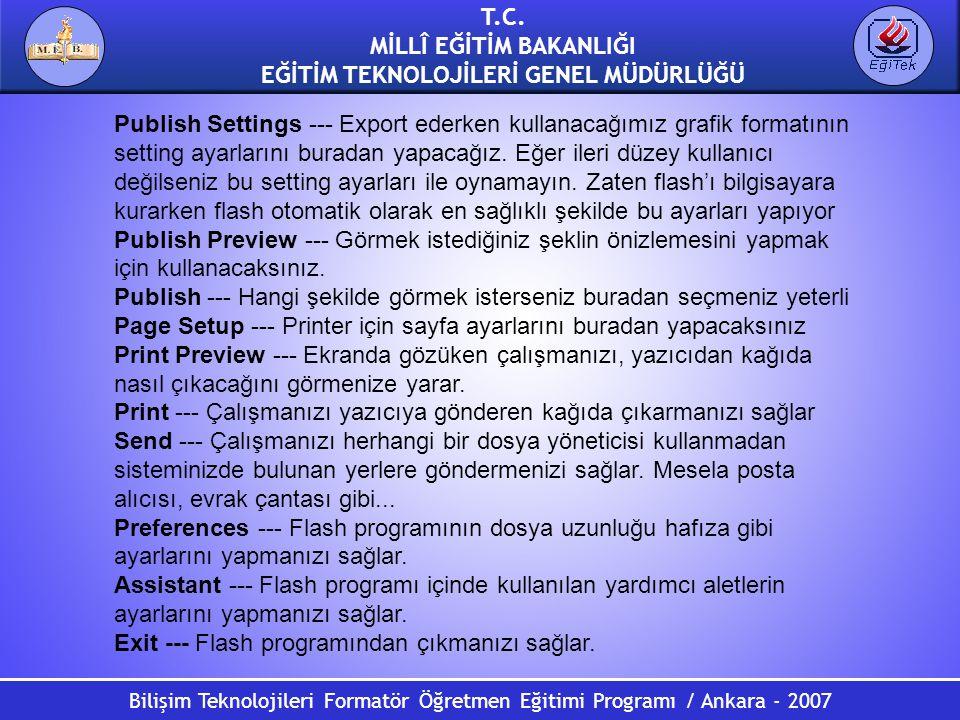 Bilişim Teknolojileri Formatör Öğretmen Eğitimi Programı / Ankara - 2007 T.C. MİLLÎ EĞİTİM BAKANLIĞI EĞİTİM TEKNOLOJİLERİ GENEL MÜDÜRLÜĞÜ Publish Sett